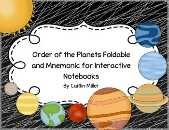 Order of the Planets Foldable and Activity for Interactive Notebooks