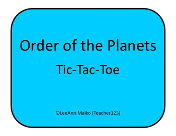 Order of the Planets - Tic-Tac-Toe