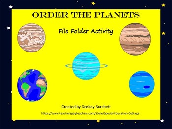 Order the Planets File Folder- Autism- Special Education- Science