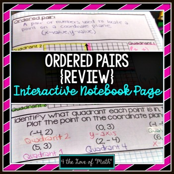Ordered Pair Review Foldable Page