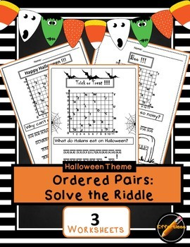 Ordered Pair- Solve the Riddle: Halloween 3 Pack