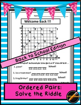 Ordered Pair Solve the Riddle: Welcome Back to School!