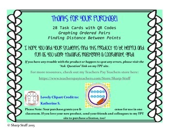Ordered Pair Task Cards with QR Codes