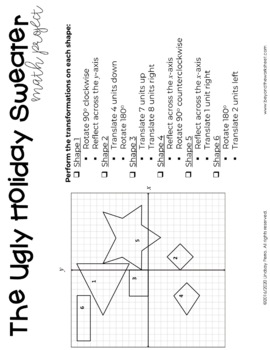 Geometric Transformations Christmas Math Project By Lindsay Perro