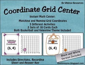 Ordered Pairs Coordinate Grid Math Center Basketball Valentine