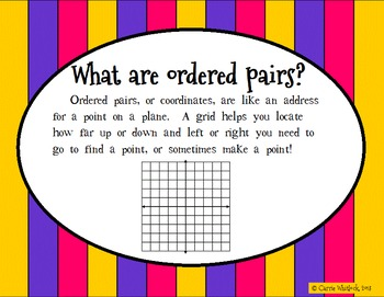 Ordered Pairs ( Coordinates )  Geometry Presentation and Assessment Pack