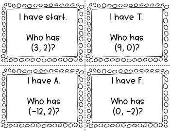 "Ordered Pairs ""I Have Who Has"" Math Activity"