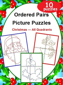 Ordered Pairs Mystery Picture Puzzles (All Quadrants - Christmas)