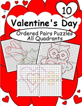 Ordered Pairs Mystery Picture Puzzles (All Quadrants – Valentine's Day)