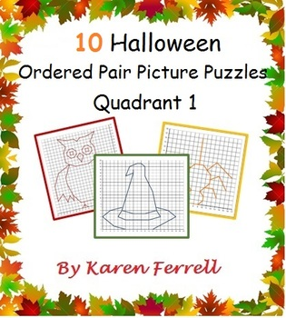 Ordered Pairs Mystery Picture Puzzles (Quadrant One - Halloween)