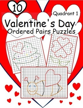 Ordered Pairs Mystery Picture Puzzles (Quadrant One – Valentine's Day)