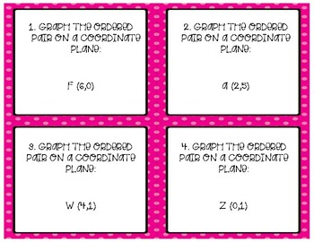 Ordered Pairs & Relations Task Cards