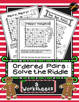 Ordered Pairs Solve the Riddle Holiday 3 pack