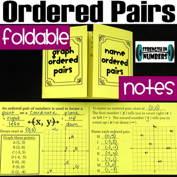 Ordered Pairs (graph, name) Foldable Notes Interactive Notebook