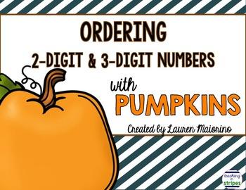 Ordering 2 & 3-Digit Numbers with Pumpkins- Freebie!