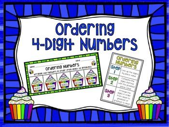 Ordering 4-Digit Numbers Cupcake Activities!4