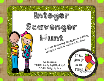 Ordering & Adding Integers Scavenger Hunt