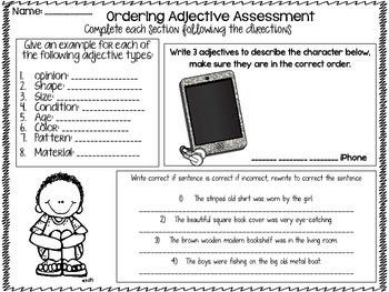 Ordering Adjective Assessment