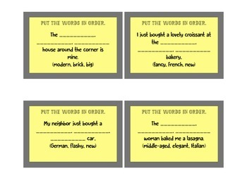 Ordering Adjectives Task Cards