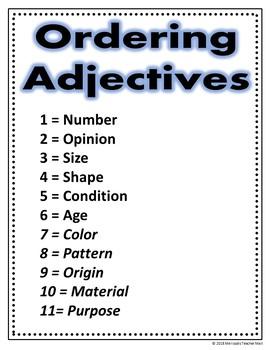 Ordering Adjectives Activity Google Task Cards Digital File Set 1