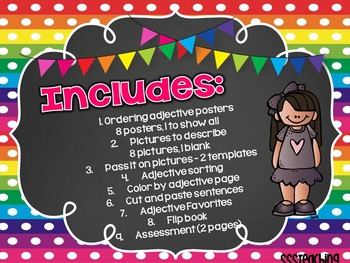 Ordering Adjectives CCSS Activity Pack