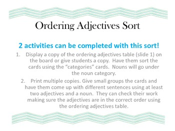 Ordering Adjectives Centers