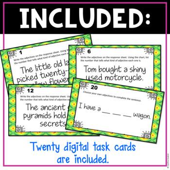 Ordering Adjectives Digital Task Cards for Google Slides