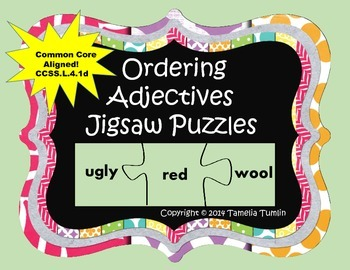 Ordering Adjectives Jigsaw Puzzles (common core aligned)