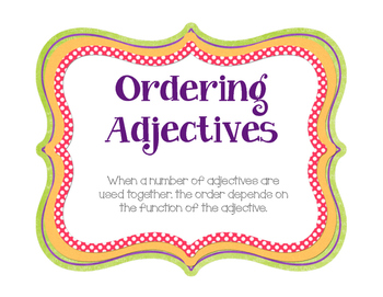 Ordering Adjectives Posters