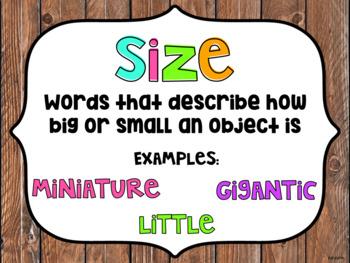 Ordering Adjectives - Posters & Banner Bulletin board, Sorting Center, Worksheet