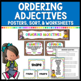 Ordering Adjectives - Posters & Banner Bulletin board, Sorting Center, Worksheet