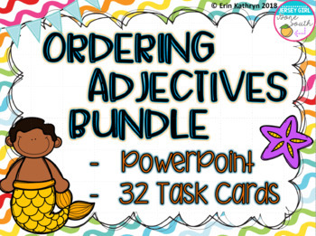 Ordering Adjectives PowerPoint and Task Cards - Set of 28 Bundle