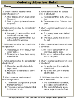 Ordering Adjectives Quizzes - Common Core