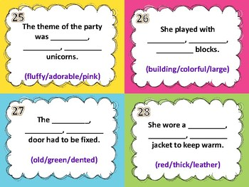 Ordering Adjectives Task Cards (32) - Set 2 Common Core Aligned