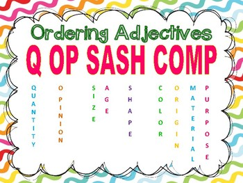 Ordering Adjectives Task Cards - Set of 28 Common Core Aligned