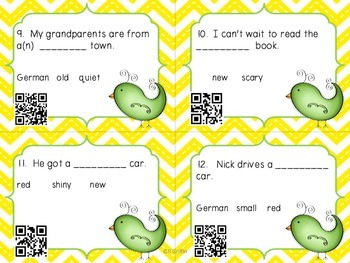 Ordering Adjectives Task Cards with QR option