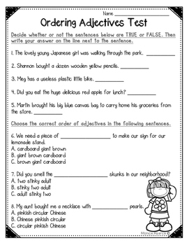 Ordering Adjectives Test (L.4.1d) by Monica Abarca | TpT