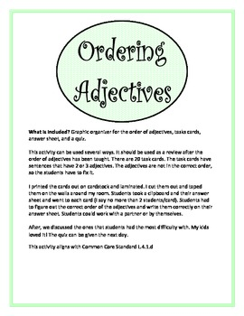Ordering Adjectives Unit