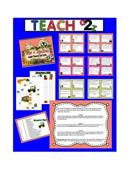 Ordering Adjectivies Task Cards - 95 Jungle Themed Differe