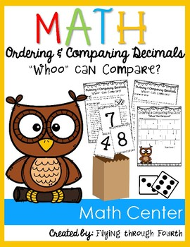 """Ordering & Comparing Fractions: """"Whoo"""" Can Compare?: Math Center Game {4.NF.7}"""