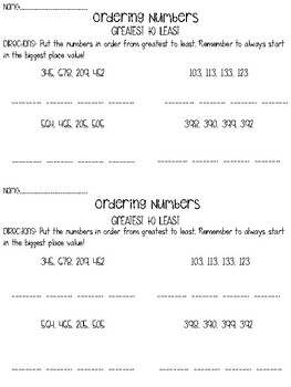 Ordering (& Comparing) Numbers Half Sheet