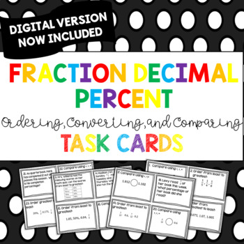 Ordering, Comparing, and Converting Fraction, Decimal, and Percent Task Cards
