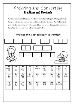Ordering & Converting Fractions and Decimals- Fun Riddle Worksheet