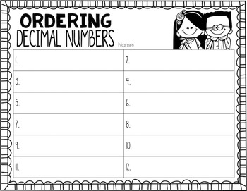 Ordering Decimals to the Thousands Place Task Cards