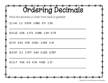 Ordering Decimals Cards