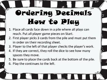Ordering Decimals Emoji Themed Board Game