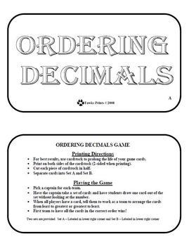 Ordering Decimals Game