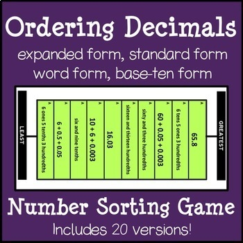 Ordering Decimals: Number Sorting Game in Expanded, Base-Ten and Word Form