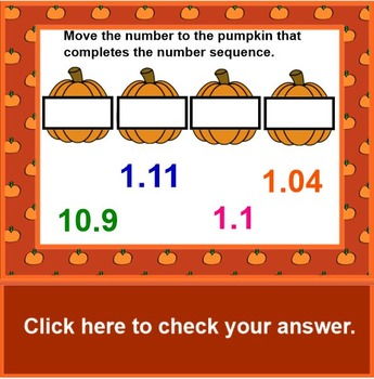 Ordering Decimals Pumpkin Theme