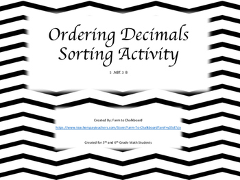 Ordering Decimals Sort